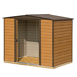Rowlinson Woodvale 8 x 6ft Double Door Metal Apex Shed including Floor