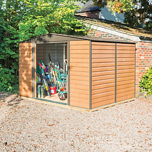 Rowlinson Woodvale 10 x 8ft Large Double Door Metal Apex Shed including Floor