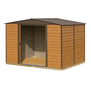 Rowlinson Woodvale 10 x 12ft Large Double Door Metal Apex Shed including Floor