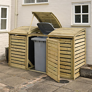 Rowlinson 8 x 3 ft Large Timber Triple Wheelie Bin Storage