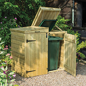 Rowlinson 5 x 3ft Large Timber Double Wheelie Bin Storage with Lifting Lid