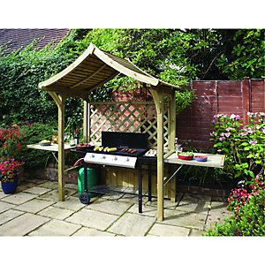 Rowlinson Party Trellis Garden Arbour with Lifting Seat - 1810 x 1290 mm
