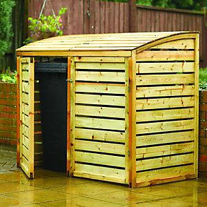 Rowlinson 5 x 3ft Large Timber Double Wheelie Bin Storage