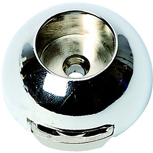 Wickes Interior Wardrobe Rail Covered Socket - 19mm Chrome Pack of 2
