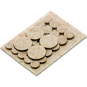 Wickes Assorted Heavy Duty Self-Adhesive Felt Pads - Pack of 31