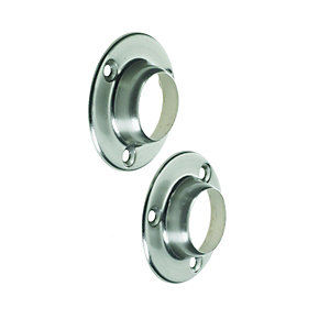Wickes Interior Wardrobe Rail Deluxe Socket - 25mm Brushed Nickel Pack of 2