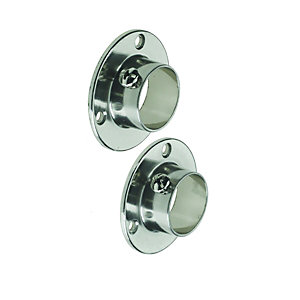 Wickes Interior Wardrobe Rail Retaining Socket - 25mm Brushed Nickel Pack of 2
