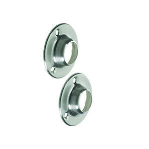 Wickes Interior Wardrobe Rail Socket - 19mm Brushed Nickel Pack of 2