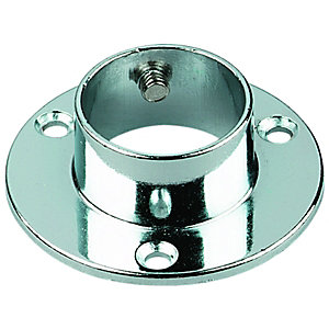 Wickes Interior Wardrobe Rail Retaining Socket - 25mm Chrome Pack of 2