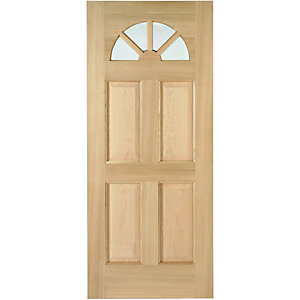 Wickes Carolina External Oak Door Glazed 4 Panel