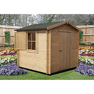Shire 8 x 8 ft Camelot Log Cabin Style Shed with Shuttered Window