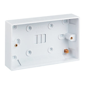 Wickes 2 Gang Pattress Box - White 25mm Pack of 10
