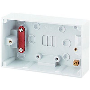 Wickes 2 Gang Pattress Box for Cooker Control Units - White 47mm