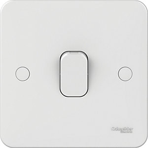 Lisse 1 Gang 1 Way Light Switch - White
