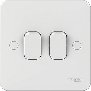 Lisse 2 Gang 2 Way Light Switch - White