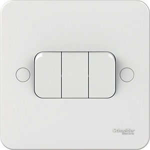 Lisse 3 Gang 2 Way Light Switch - White