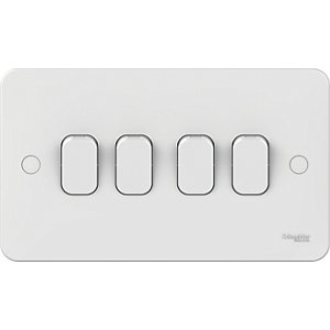 Lisse 4 Gang 2 Way Light Switch - White