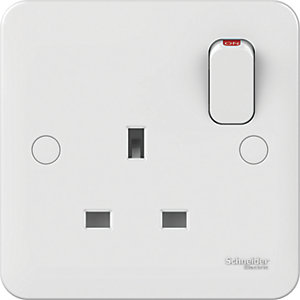 Lisse 1 Gang 13A Double Pole Switched Socket - White