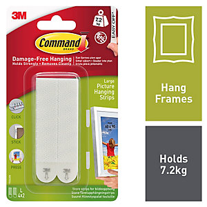 Command Large Picture Hanging Strips - White Pack Of 4