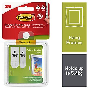 Command Picture Hanging Strips - White Pack of 4 Small & 8 Medium