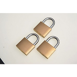 Wickes Padlock - Brass 40mm Pack of 3