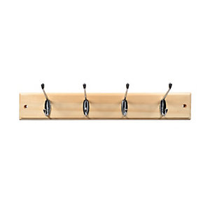 Wickes Hat and Coat Hook Rack - Pine & Chrome