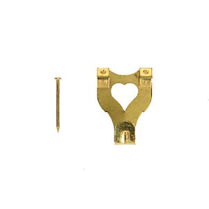 Wickes Double Picture Hook No.3 - Brass 33 x 25mm Pack of 10