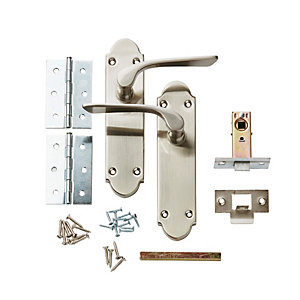 Wickes Pierre Latch Door Handle Set - Satin Nickel 1 Pair