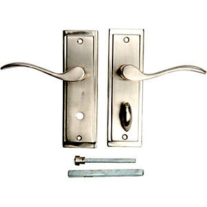 Wickes Lisbon Bathroom Door Handle - Satin Nickel 1 Pair
