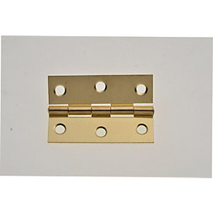 Wickes Butt Hinge - Brass 63mm Pack of 2
