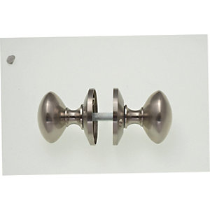 Wickes Victorian Mortice Door Knobs - Satin Nickel 1 Pair