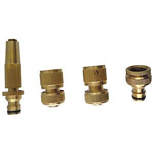 Image of Wickes Brass Garden Hose Pipe Set