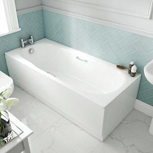 Wickes Avaris Enamel Coated Steel Straight Bath - 1700 x 700mm