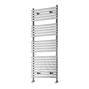 Towelrads Liquid Round Tube Chrome Heated Towel Rail Radiator - 1200 x 500mm