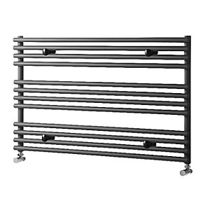 Wickes Liquid Round Horizontal Designer Towel Radiator - Anthracite 600 x 1000 mm