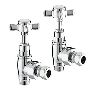 Wickes Chrome Cross Head Angled Radiator Valves - 15mm