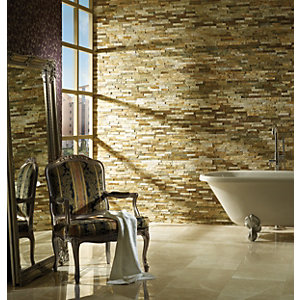 Wickes Oyster Split Face Mosaic Tile - 360 X 100mm Pack of 2