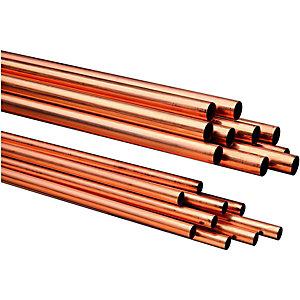 Wickes Copper Pipe 15mm x 3m Pack 10