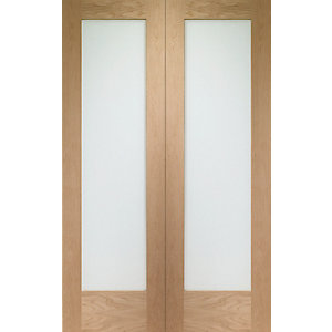 Wickes Oxford 1981mm X 1524mm Fully Glazed Rebated Internal French Doors Oak