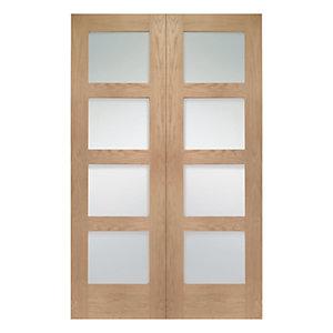 Wickes Marlow Fully Glazed Oak 4 Panel Rebated Internal Door Pair - 1981mm x 1372mm