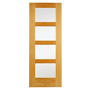 Wickes Marlow Fully Glazed Oak 4 Panel Shaker Internal Door - 1981mm