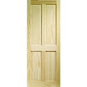 Wickes Skipton Clear Pine 4 Panel Internal Fire Door - 1981mm x 686mm