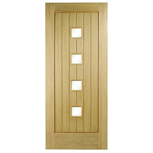Wickes Sienna External Cottage Oak Door Glazed 1981 x 838mm