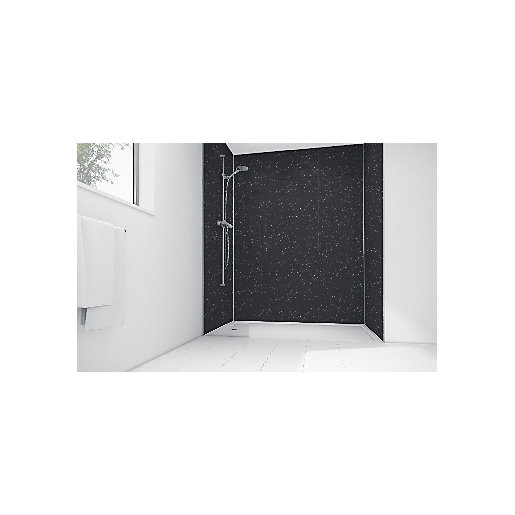 Mermaid Black Sparkle Gloss Laminate 2 Sided Shower