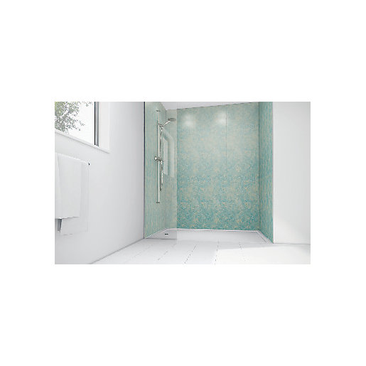 Mermaid Blue Reef Gloss Laminate 2 Sided Shower