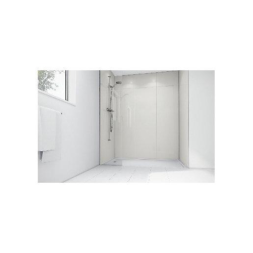 Mermaid White Gloss Laminate 2 Sided Shower Panel