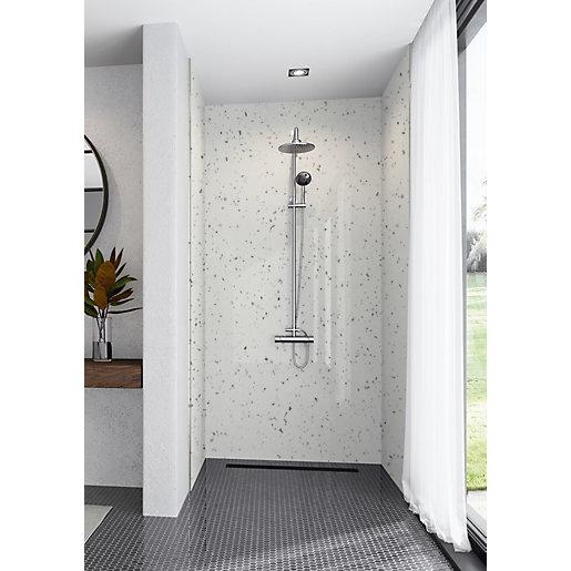 Mermaid Elite Quartzo Bianco 3 Sided Shower Panel