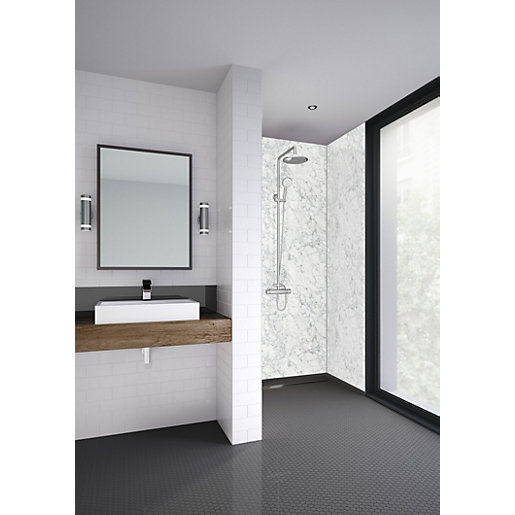 Mermaid Laminate White Marble 3 Sided Shower Panel