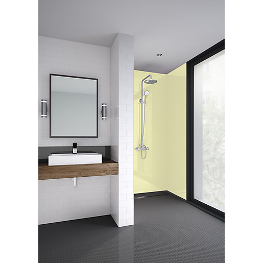 Mermaid Soft Yellow Gloss Acrylic 3 Sided Shower
