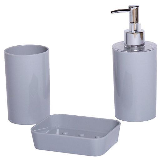 Bathroom Accessories 3 Piece Set - Grey